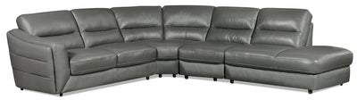 Romeo 4-Piece Genuine Leather Right-Facing Sectional – Grey - Modern style Sectional in Grey