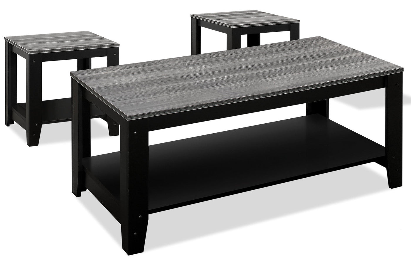 rory 3 piece coffee and two end tables package grey and black