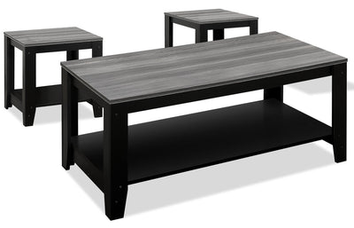 Rory 3-Piece Coffee and Two End Tables Package - Grey and Black