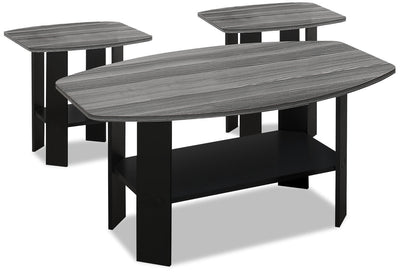 Rosario 3-Piece Coffee and Two End Tables Package - Grey and Black
