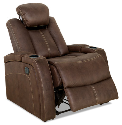 Ross Faux Suede Power Reclining Chair – Chocolate - Contemporary style Chair in Chocolate
