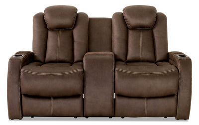 Ross Faux Suede Power Reclining Loveseat – Chocolate - Contemporary style Loveseat in Chocolate