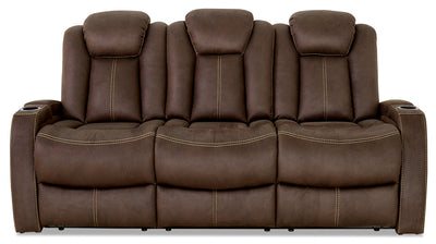 Ross Faux Suede Power Reclining Sofa – Chocolate - Contemporary style Sofa in Chocolate