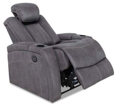 Ross Faux Suede Power Reclining Chair – Pewter|Fauteuil à inclinaison électrique Ross en suédine - étain|ROSSPEPC