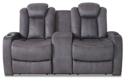 Ross Faux Suede Power Reclining Loveseat – Pewter - Contemporary style Loveseat in Pewter