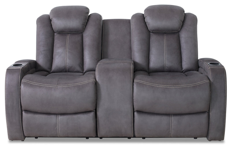 Ross Faux Suede Power Reclining Loveseat – Pewter|Causeuse à inclinaison électrique Ross en suédine - étain