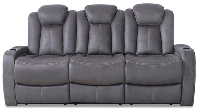 Ross Faux Suede Power Reclining Sofa – Pewter|Sofa à inclinaison électrique Ross en suédine - étain|ROSSPEPS