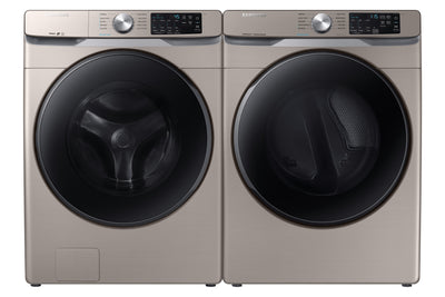 Samsung 5.2 Cu. Ft. Front-Load Washer and 7.5 Cu. Ft. Electric Dryer - Champagne - Laundry Set in Champagne