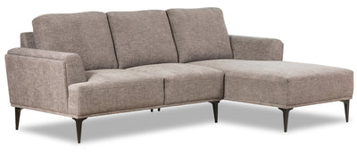 Sally 2-Piece Chenille Right-Facing Sectional - Grey|Sofa sectionnel de droite Sally 2 pièces en chenille - gris|SALGYRS2