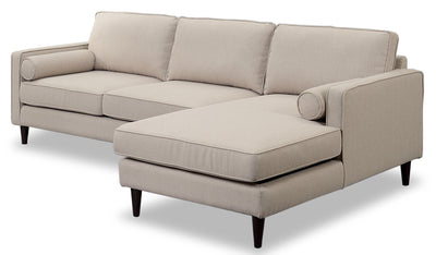 Sandy 2-Piece Linen-Look Fabric Right-Facing Sectional - Cream