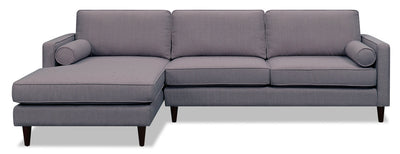 Sandy 2-Piece Linen-Look Fabric Left-Facing Sectional - Grey