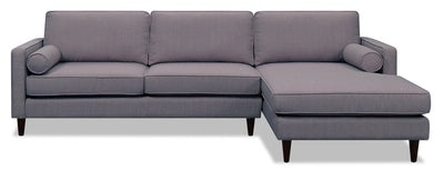 Sandy 2-Piece Linen-Look Fabric Right-Facing Sectional - Grey