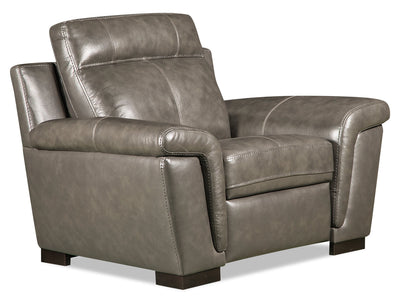Seth Genuine Leather Chair - Grey|Fauteuil Seth en cuir véritable - gris|SETH2GCH