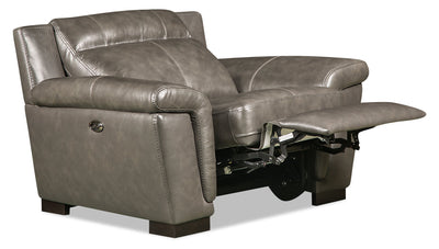 Seth Genuine Leather Power Recliner - Grey - {Contemporary} style Chair in Grey {Solid Woods}