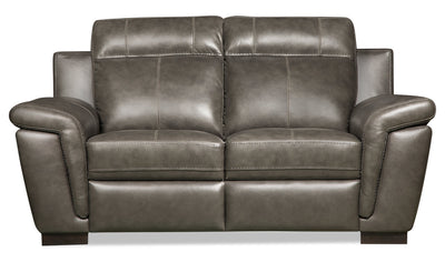 Seth Genuine Leather Power Reclining Loveseat - Grey - {Contemporary} style Loveseat in Grey {Solid Woods}
