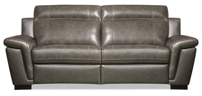 Seth Genuine Leather Power Reclining Sofa - Grey - {Contemporary} style Sofa in Grey {Solid Woods}