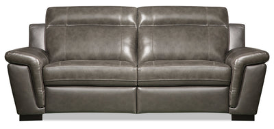 Seth Genuine Leather Sofa - Grey - {Contemporary} style Sofa in Grey {Solid Woods}