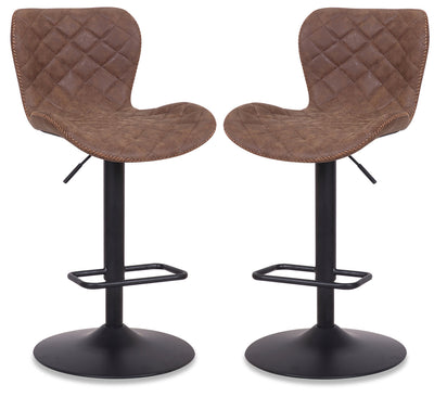 Seth Bar Stool, Set of 2 - Brown - {Modern} style Bar Stool in Brown {Metal}