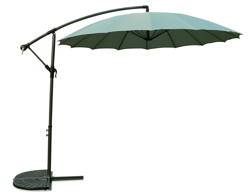 Shanghai Hanging Patio Umbrella with Base Package –Blue|Ensemble parasol excentré Shanghai pour la terrasse avec base - bleu