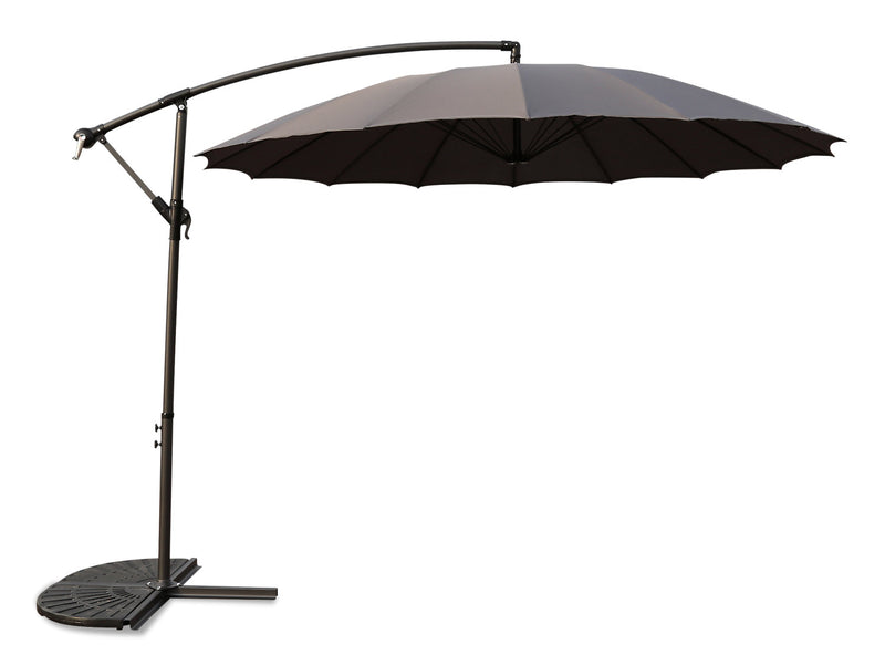 Shanghai Hanging Patio Umbrella with Base Package – Grey|Ensemble parasol excentré Shanghai pour la terrasse avec base - gris
