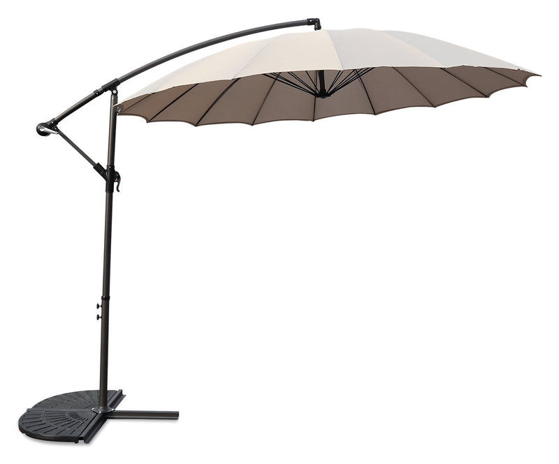 Shanghai Hanging Patio Umbrella with Base Package – Beige|Ensemble parasol excentré Shanghai pour la terrasse avec base - beige
