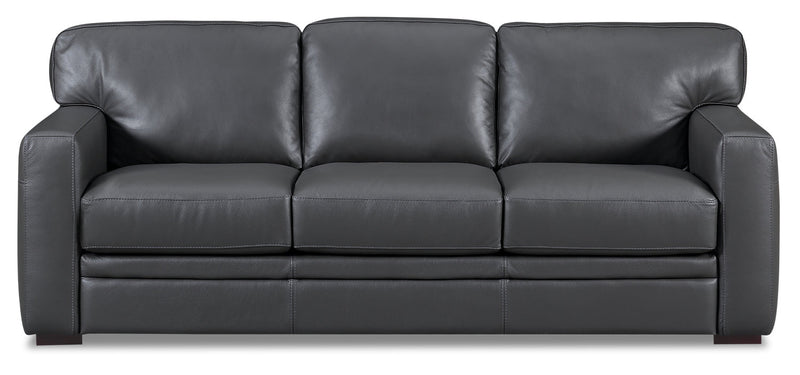 Shaw 100% Genuine Leather Sofa - Charcoal|Sofa Shaw en cuir 100 % véritable - anthracite