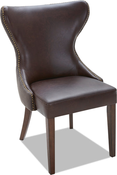 Shea Dining Chair – Brown - Traditional style Accent Dining Chair in Brown Rubberwood Solids and Bonded Leather