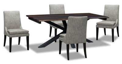 Shilo 5-Piece Dining Set - Grey - {Modern} style Dining Room Set in Dark Grey {Solid Woods}