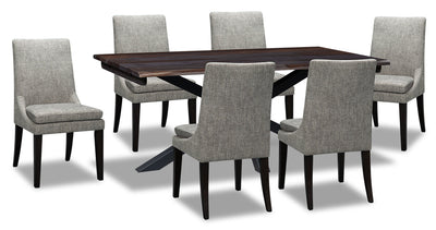 Shilo 7-Piece Dining Set - Grey - {Modern} style Dining Room Set in Dark Grey {Solid Woods}