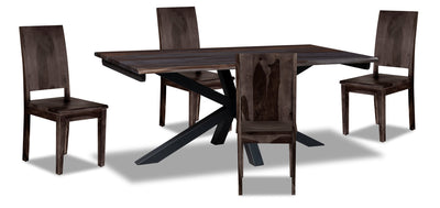 Shilo 5-Piece Dining Package - {Modern} style Dining Room Set in Dark Grey {Solid Woods}