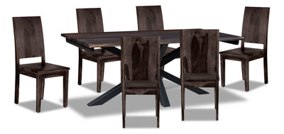 Shilo 7-Piece Dining Package - {Modern} style Dining Room Set in Dark Grey {Solid Woods}