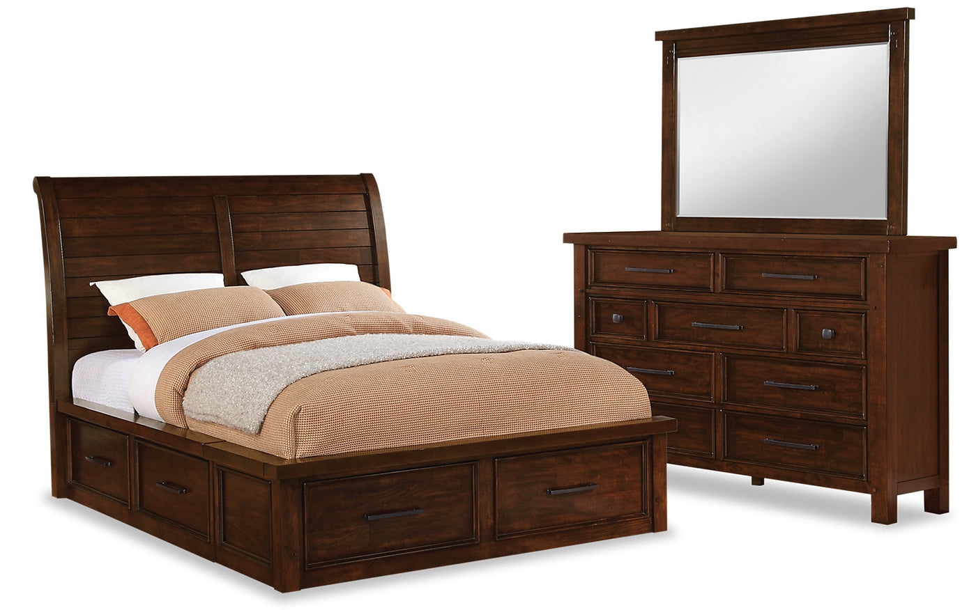 Sonoma 5-Piece King Storage Bedroom Set - Dark Brown