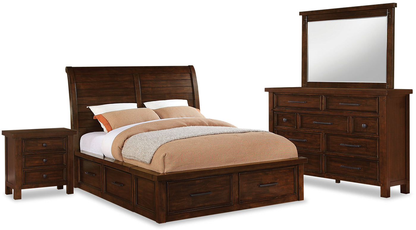 Sonoma 6 Piece King Storage Bedroom Set Dark Brown The Brick