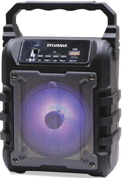 Sylvania Disco LED Light-Up Bluetooth Speaker - SP389-BLACK|Haut-parleur portatif Sylvania avec Bluetooth - SP389-BLACK|SP389BTS