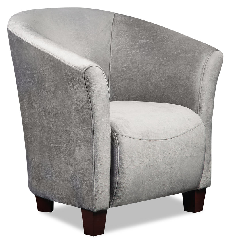 Tub-Style Velvet Accent Chair - Grey - {Contemporary} style Accent Chair in Grey {Plywood}, {Solid Woods}