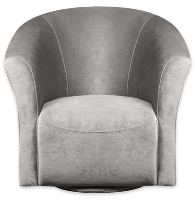 Tub-Style Velvet Swivel Accent Chair - Grey - {Contemporary} style Accent Chair in Grey {Plywood}, {Solid Woods}