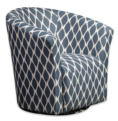 Tub-Style Fabric Swivel Accent Chair - Dakota Indigo
