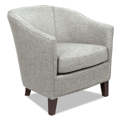 Stella Linen-Look Fabric Accent Chair - Light Grey - {Contemporary} style Accent Chair in Light Grey {Plywood}, {Solid Woods}