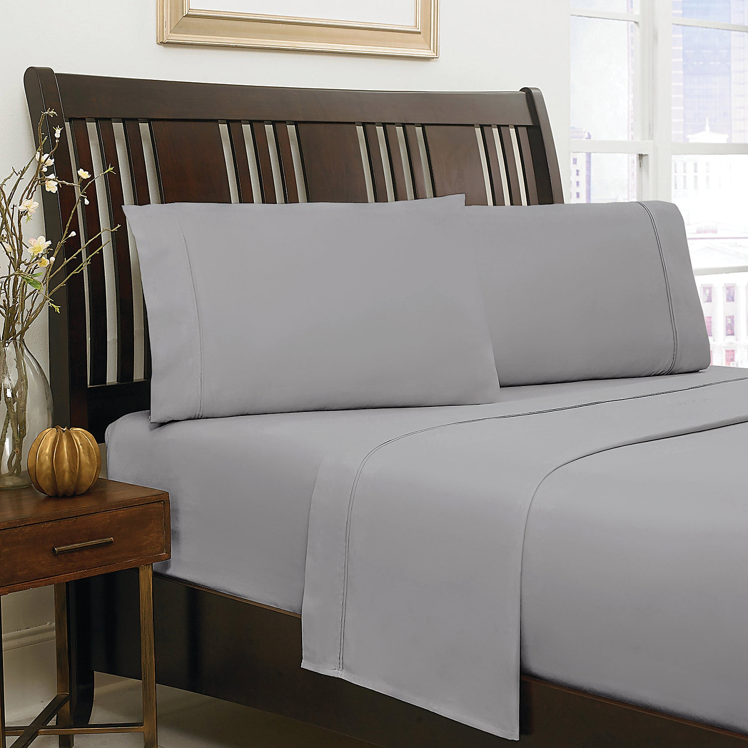 300 Thread Count Twin Sheet Set Grey The Brick