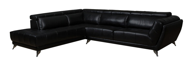 Tate 2-Piece Leather-Look Fabric Left-Facing Sectional – Black