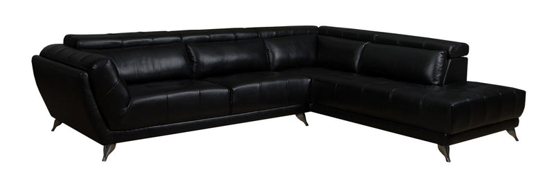 Tate 2-Piece Leather-Look Fabric Right-Facing Sectional – Black