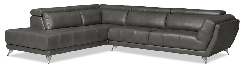 Tate 2-Piece Leather-Look Fabric Left-Facing Sectional – Grey