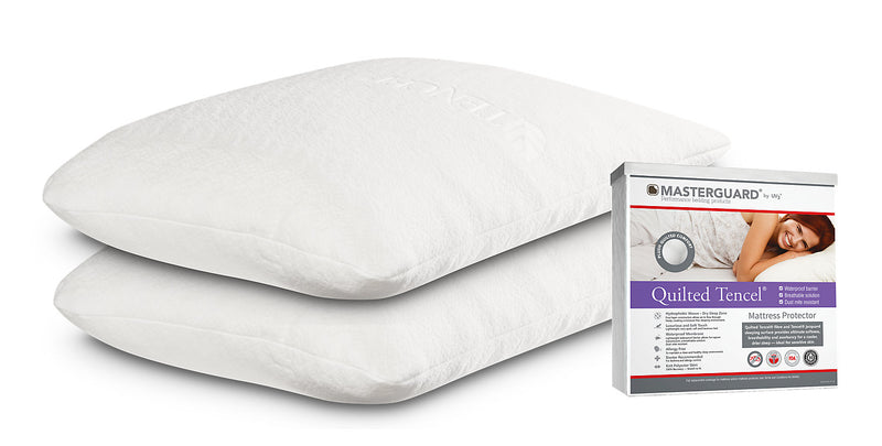 Masterguard® TENCEL™ King Mattress Protector with 2 Queen Memory Foam Tencel Pillows