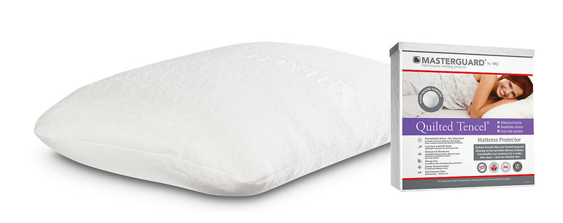 Masterguard® TENCEL™ Twin Mattress Protector with 1 Standard Memory Foam Tencel Pillow|Protège-matelas Masterguard Tencel pour lit simple et 1 oreiller standard Tencel en mousse à mémoire