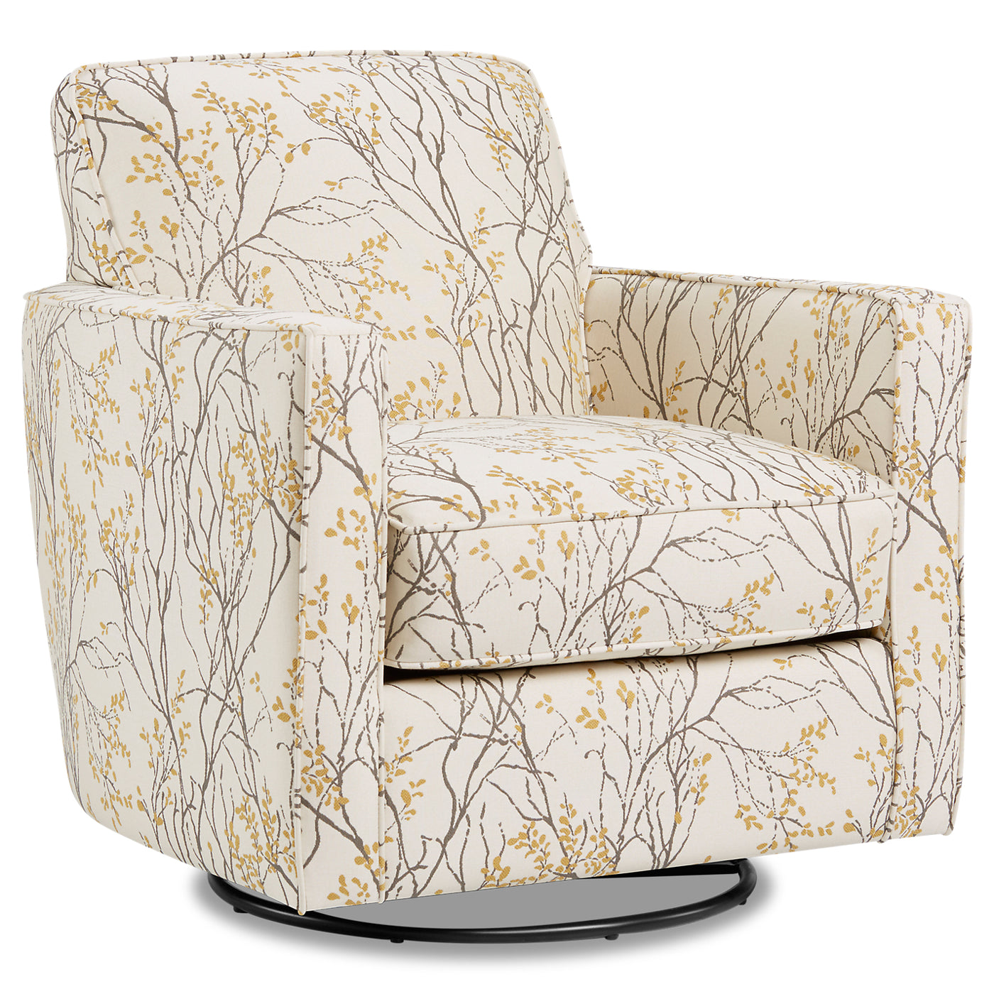 Dimensions Myla Marigold Accent Chair: Thea Fabric Swivel Accent Chair - Myla Marigold