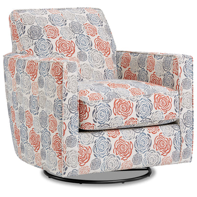 Thea Fabric Swivel Accent Chair - Palm Beach Lapis|Fauteuil d'appoint pivotant Thea en tissu - Palm Beach lapis|THEAPBAC