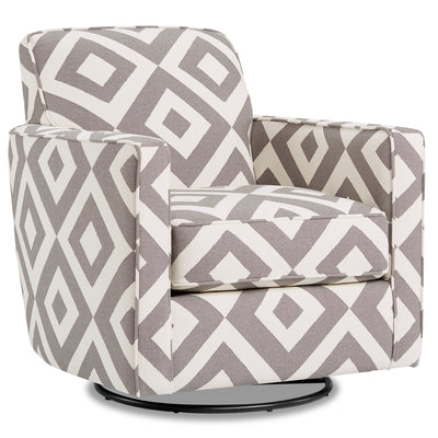 Thea Fabric Swivel Accent Chair - Square Charcoal|Fauteuil d'appoint pivotant Thea en tissu - carré anthracite|THEASCAC