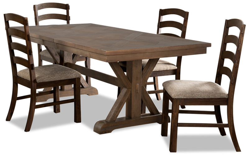 Theo 5-Piece Dining Set - {Country} style Dining Room Set in Dark Brown {Rubberwood}, {Acacia}