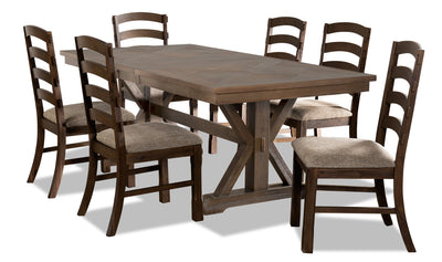 Theo 7-Piece Dining Set - {Country} style Dining Room Set in Dark Brown {Rubberwood}, {Acacia}