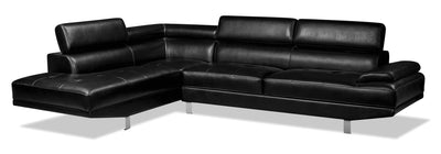 Theo 2-Piece Leather-Look Fabric Left-Facing Sectional - Black|Sofa sectionnel de gauche Theo 2 pièces en tissu d'apparence cuir - noir|THEOBKSL